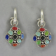Mosaic Earrings Sterling Silver Multi stone