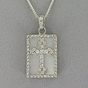 Cross Pendant Sterling Silver Mother of Pearl