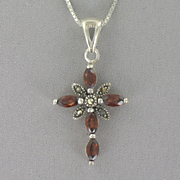 Cross Pendant Sterling Silver Garnet
