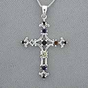 Cross Pendant Sterling Silver Filigree Garnet