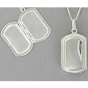 Dog Tag Locket Sterling Silver