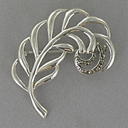 Pin Sterling Silver Marcasite Leaf