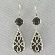 Earrings Sterling Silver Onyx