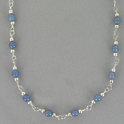 Necklace Sterling Silver Blue Agate