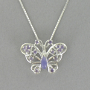 Pendant Butterfly Sterling Silver Amethyst and Jade