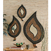 3 Piece Tropical Rattan Mirror Set