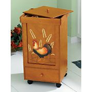 Rooster and Wheat Rolling Trash Bins