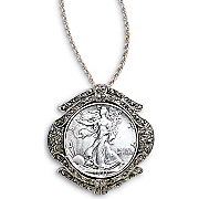 Silver Walking Liberty Half Dollar Marcasite Pin pendant