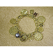 Gold layered Foreign Coins Charm Bracelet