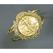 Gold layered Silver Walking Liberty Half Dollar Cuff Bracelet