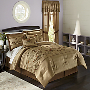 Gold Butterfly Embroidered Comforter Set And Window Treatments
