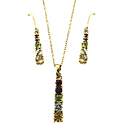 Gemstone Bar Pendant And Earrings