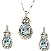 Topaz And Diamond Pendant And Earrings