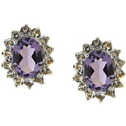 Earrings Amethyst And White Topaz