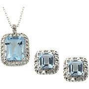 Pendant and Earrings Blue Topaz