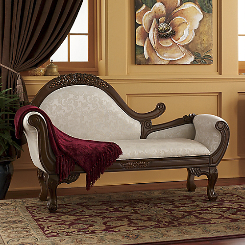 Furniture living room furniture chaise carved chaise for Carved wooden chaise