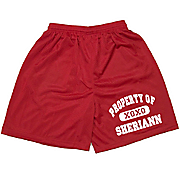 Property Of Red Mesh Sport Shorts