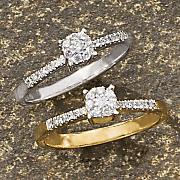 Diamond Round Cluster Ring B
