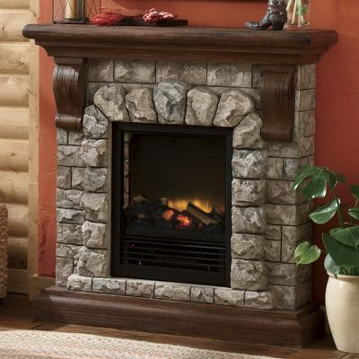 Faux Stone Electric Fireplace