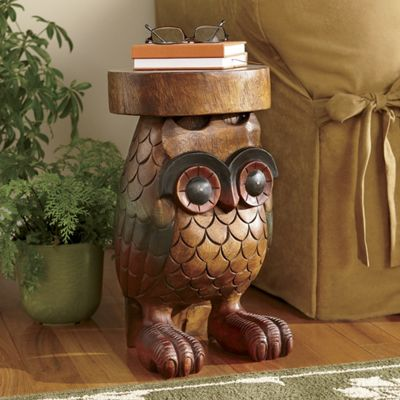 Hand Carved Wooden Owl Table
