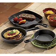 Pre Seasoned Cast Iron Grill/Fry Pans, 3-Piece Set