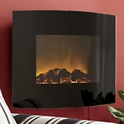 Curved Black Glass Wall Fireplace With Remote
