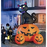 12 feet Black Cat With 3 Pumpkins
