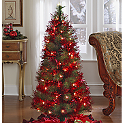 Tree Red Tinsel Lighted