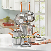 Rachael Ray Cookware Stainless Steel With Orange Handles 10 Piece Set