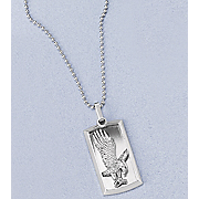 Dog Tag Pendant Stainless Steel Eagle