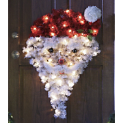 Santa Lighted Tinsel Door Hanging