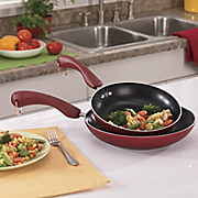 Set Of 2 Aluminum Skillets With Speckled Porcelain Exteriors By Paula Deen
