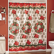 Christmas Wreath Shower Curtain Set
