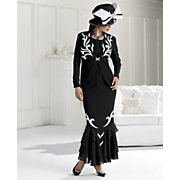 Zebra Trim Suit and Flyaway Bow Hat By Tally Taylor