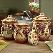 Set Of 3 Siena Hand painted Canisters