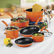 10 piece Aluminum Cookware With Porcelain Enamel Exterior By Rachael Ray