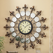 mirrored fleur de lis wall clock