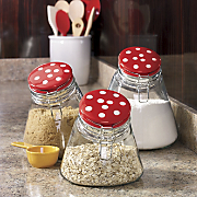 set of 3 red dot bistro canisters