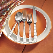 20 piece Checkerboard Frost Flatware Set