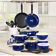 Chef Tested 22 pc Enamel Cookware Set With Nonstick Fry pans By Montgomery Ward