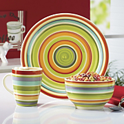 12 pc hand painted city colors dinnerware set