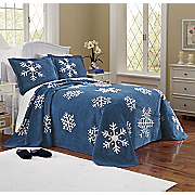 Evening Snow Chenille Bedspread And Sham