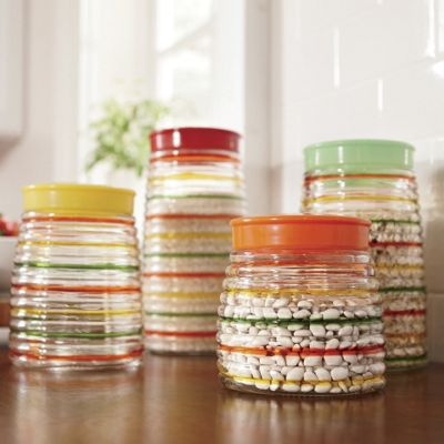 Set Of 4 Striped Canisters