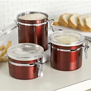 Set Of 3 Red Canisters