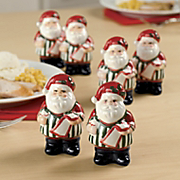 Set Of 6 Santa Salt And Pepper Shakers