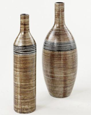 Set Of 2 Striped Ceramic Vases