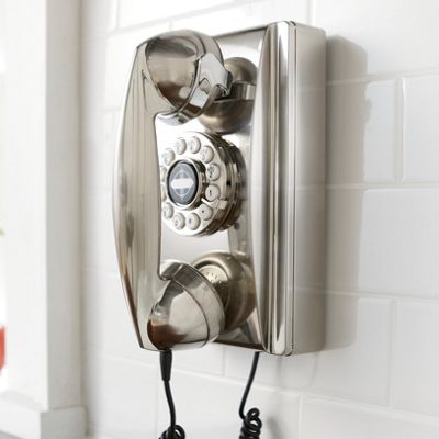Crosley Wall Phone   Brushed Chrome