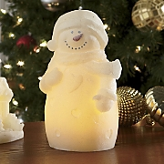 Flameless Glitter Snowman Candle