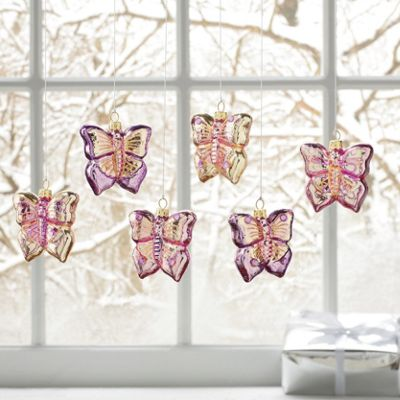 Set Of 6 Butterfly Ornaments
