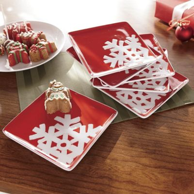 Set Of 6 Snowflake Plates